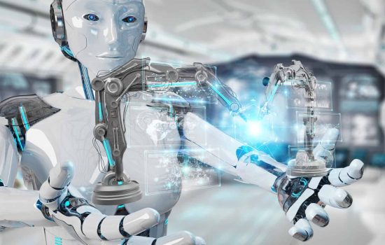 White woman robot on blurred background using robotics arms with digital screen 3D rendering